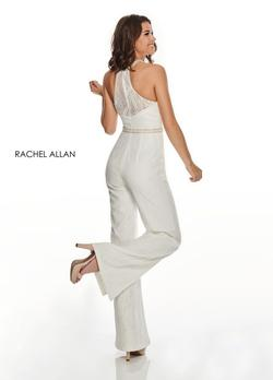 Style L1265 Rachel Allan White Size 2 Tall Height Sheer Lace Jumpsuit Dress on Queenly