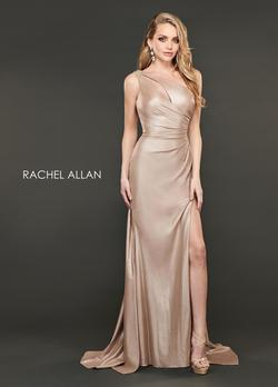 Style 8406 Rachel Allan Gold Size 0 Tulle Tall Height Train One Shoulder Side slit Dress on Queenly
