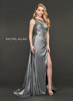 Style 8406 Rachel Allan Silver Size 10 Tulle Tall Height Train One Shoulder Side slit Dress on Queenly