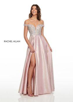 Style 7146 Rachel Allan Pink Size 4 Prom Side slit Dress on Queenly