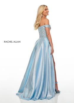 Style 7146 Rachel Allan Blue Size 14 Cap Sleeve V Neck Tall Height Side slit Dress on Queenly