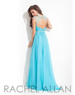Style 6816 Rachel Allan Blue Size 00 Pageant Turquoise A-line Dress on Queenly