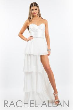 Style 7626 Rachel Allan White Size 4 Belt Tall Height Fun Fashion Jumpsuit Dress on Queenly