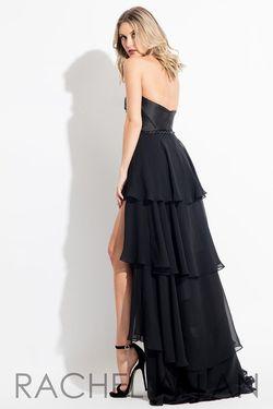 Style 7626 Rachel Allan Black Size 4 Ruffles Belt Tall Height Fun Fashion Jumpsuit Dress on Queenly
