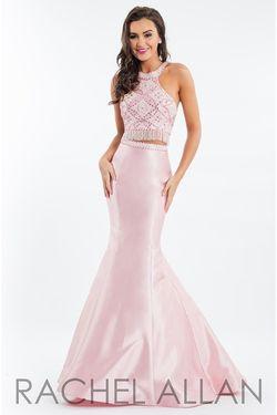 Style 7557 Rachel Allan Pink Size 2 Tall Height Halter Mermaid Dress on Queenly