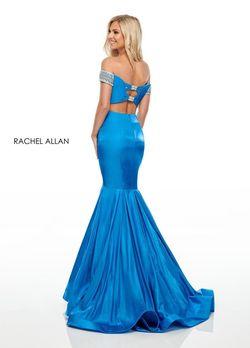 Style 7016 Rachel Allan Blue Size 10 Sweetheart Prom Mermaid Dress on Queenly