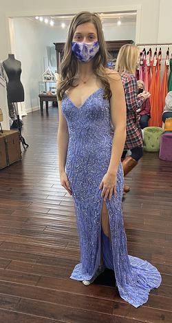 Sherri Hill Blue Size 0 Train Spaghetti Strap Side slit Dress on Queenly