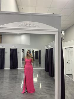 Jovani Pink Size 4 Tall Height Spaghetti Strap Mermaid Dress on Queenly