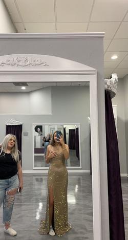 Jovani Gold Size 4 Sorority Formal Side Slit Mermaid Dress on Queenly