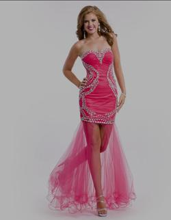 Style 6453 Party Time Formals/Rachel Allan Red Size 6 Sheer Tall Height Cocktail Dress on Queenly