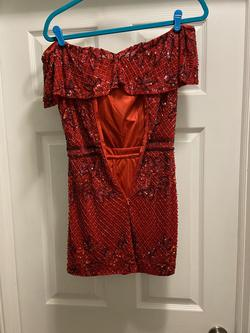Mac Duggal 4745N Red Size 2 Tall Height Sequin Cocktail Dress on Queenly