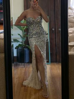 Jovani Silver Size 4 Pageant Bodycon Strapless Straight Dress on Queenly