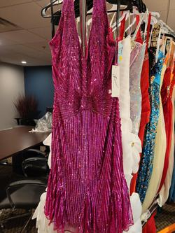 Cassandra Stone by MacDuggal Pink Size 16 Halter Homecoming Cocktail Dress on Queenly