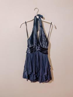 BCBG Blue Size 0 Sorority Formal Plunge Flare Halter Cocktail Dress on Queenly