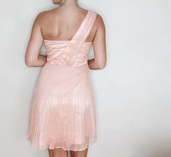 BCBG Pink Size 0 Sorority Formal Sheer One Shoulder Flare Cocktail Dress on Queenly