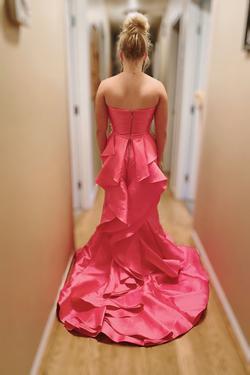 Sherri Hill Pink Size 6 Sweetheart Ruffles Train Dress on Queenly