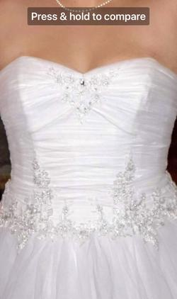 Davids Bridal White Size 12 Sweetheart Tulle Sequin Ball gown on Queenly
