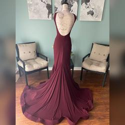 Jovani Red Size 2 V Neck Sheer Train Mermaid Dress on Queenly