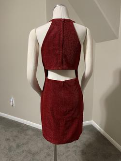 Ava Presley Red Size 10 High Neck Sorority Formal Mini Homecoming Cocktail Dress on Queenly