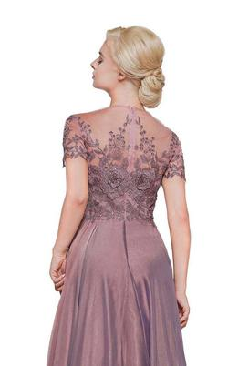 Style M274 Marsoni by Colors Purple Size 14 Backless Shiny Sheer A-line Dress on Queenly