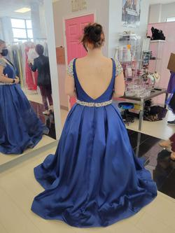 MacDuggal Blue Size 14 Plus Size Prom Ball gown on Queenly