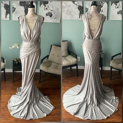 Jovani Silver Size 12 Pageant Grey V Neck Mermaid Dress on Queenly