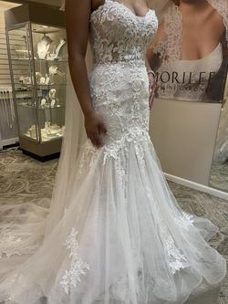 Maggie Sottero White Size 10 Sheer Tulle Train Mermaid Dress on Queenly