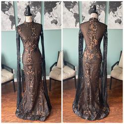 Portia & Scarlett Black Size 0 Prom Sleeves Wedding Guest Mermaid Dress on Queenly