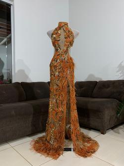 Orange Size 0 Side slit Dress on Queenly