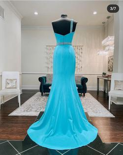 Jovani Blue Size 4 Turquoise Backless Mermaid Sequin Side slit Dress on Queenly