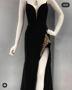 Jovani Couture Black Size 2 Jersey Velvet Side slit Dress on Queenly
