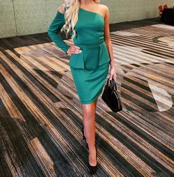 Fernando Wong  Green Size 2 Sorority Formal One Shoulder Cocktail Dress on Queenly