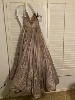Sherri Hill Gold Size 6 Tall Height Plunge Spaghetti Strap Ball gown on Queenly