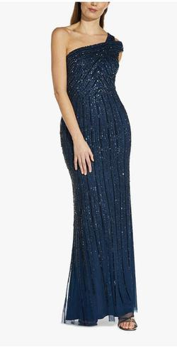Adrianne Papell Blue Size 16 Ball Gown One Shoulder Mermaid Dress on Queenly