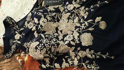 CACHET  Blue Size 10 Gold Floral Sheer Sequin Ball gown on Queenly