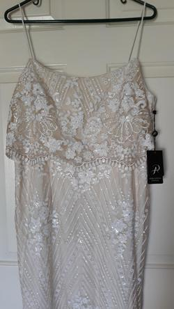 ADRIANNA PAPELL  White Size 14 Boho Sequin Mermaid Dress on Queenly
