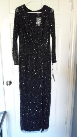 ADRIANNA PAPELL  Black Size 10 Jewelled Sequin Side slit Dress on Queenly