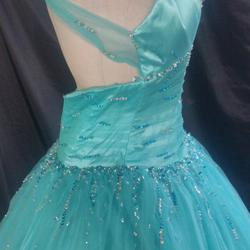 Mori Lee Blue Size 00 Ball gown on Queenly