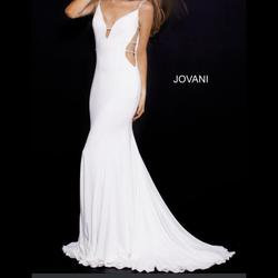 Jovani White Size 10 Train Plunge Backless Mermaid Dress on Queenly