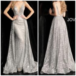 Jovani Silver Size 0 Prom Pageant Train Dress on Queenly