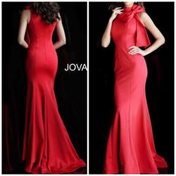 Jovani Red Size 4 Party Prom Pageant Train Mermaid Dress on Queenly