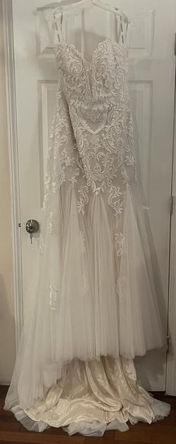 Alfred Angelo Nude Size 18 Wedding Sheer Tulle Train A-line Dress on Queenly