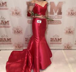 Jovani Pink Size 4 Cap Sleeve Sequin Train Mermaid Dress on Queenly