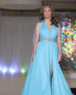 Custom Light Blue Size 6 Sequin Belt Side slit Dress on Queenly