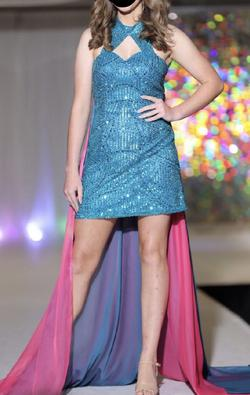 Custom Multicolor Size 6 High Neck Pageant Mini Straight Dress on Queenly
