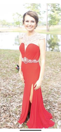 Mac Duggal Red Size 4 Belt Cap Sleeve Sheer Sequin Side slit Dress on Queenly