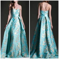Cinderella Divine Multicolor Size 8 Light Green Strapless Overskirt Train Dress on Queenly