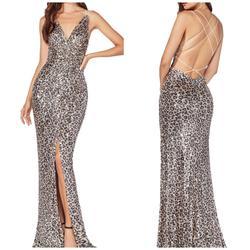 Cinderella Divine Multicolor Size 12 Backless Sequin Bridesmaid Print Mermaid Dress on Queenly