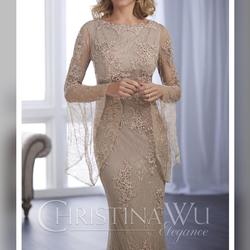 Christina Wu Nude Size 6 Train Homecoming Wedding Guest Mermaid Dress on Queenly