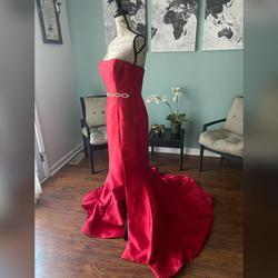 Sherri Hill Red Size 8 Sweetheart Belt Train Mermaid Dress on Queenly